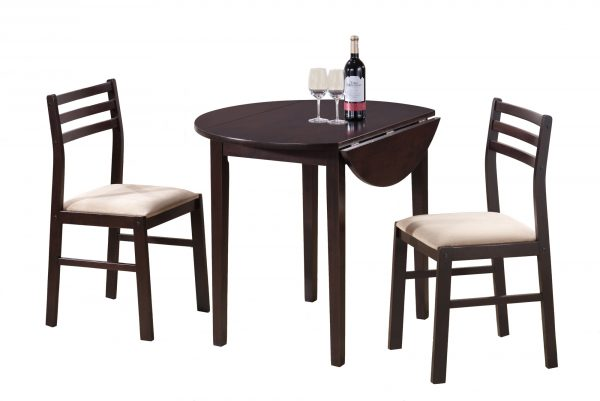 """68"""" x 66.5"""" x 95"""" Cappuccino, Beige, Foam, Solid Wood, Polyester Blend - 3pcs Dining Set"""