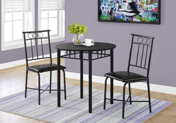 """35"""" Black Leather Look Foam and Metal Three Pieces Dining Set"""