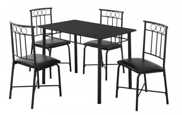 "61.5"" x 73.5"" x 101"" Black, Metal, Foam, Polyurethane, Leather-Look, Polyes - 5pcs Dining Set"