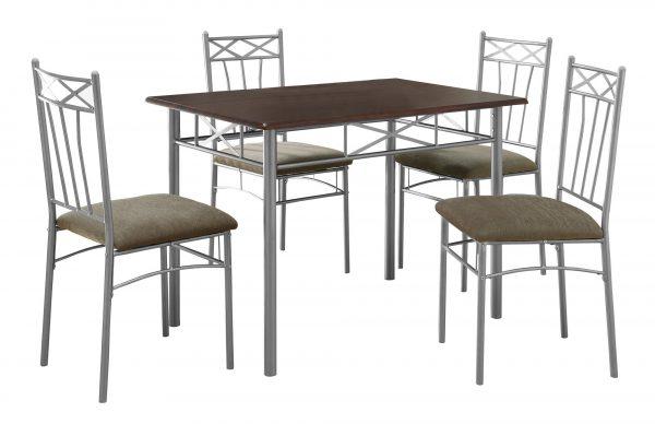"60"" x 76"" x 102"" Cappuccino, Silver, Foam, Metal, Linen - 5pcs Dining Set"