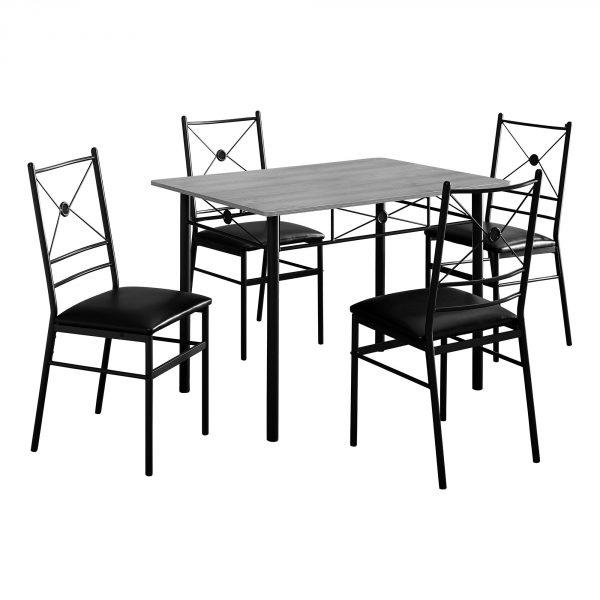 """63"""" x 76"""" x 102"""" Grey, Black, Foam, Metal - 5pcs Dining Set"""