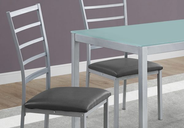 """72"""" x 82.5"""" x 105"""" Silver, Grey, Metal, Foam, Tempered Glass, Leather-Look - 5pcs Dining Set"""