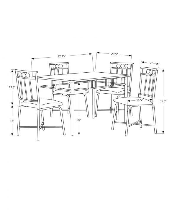 "63.5"" x 81"" x 101"" Cappuccino, Microfiber, Foam and Mdf - 5pcs Dining Set"