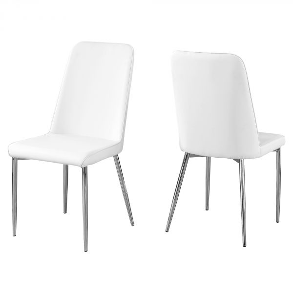 """33"""" x 36"""" x 74"""" White, Foam, Metal, Leather-Look - Dining Chairs 2pcs"""