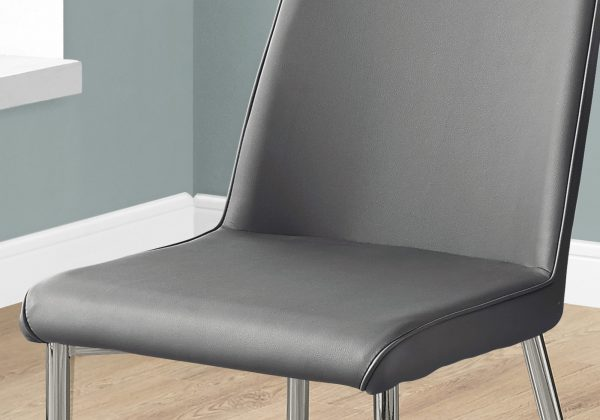 """33"""" x 36"""" x 74"""" Grey, Foam, Metal, Leather-Look - Dining Chairs 2pcs"""
