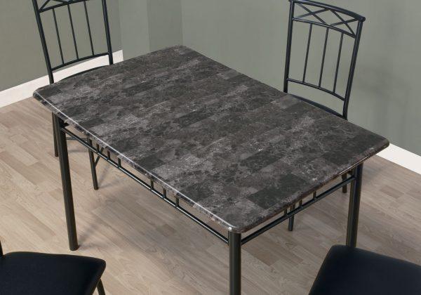 "63.5"" x 81.25"" x 101"" Grey, Foam, Metal, Leather-Look - 5pcs Dining Set"