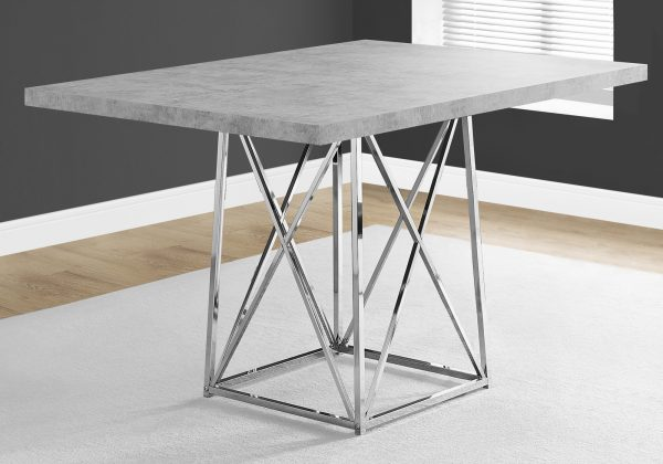 """36"""" x 48"""" x 31"""" Grey, Particle Board and Chrome Metal - Dining Table"""