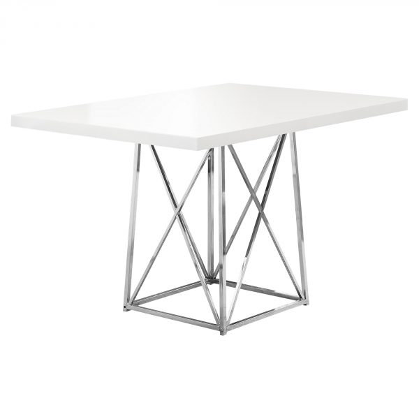 """36"""" x 48"""" x 31"""" White, Gloss Particle Board and Chrome, Metal - Dining Table"""