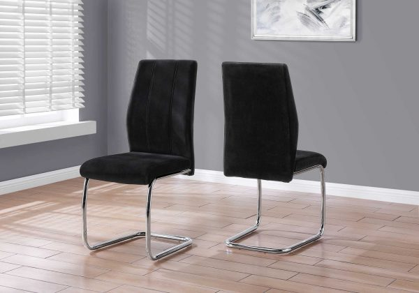 """Two 77.5"""" Velvet, Chrome Metal, and Foam Dining Chairs"""