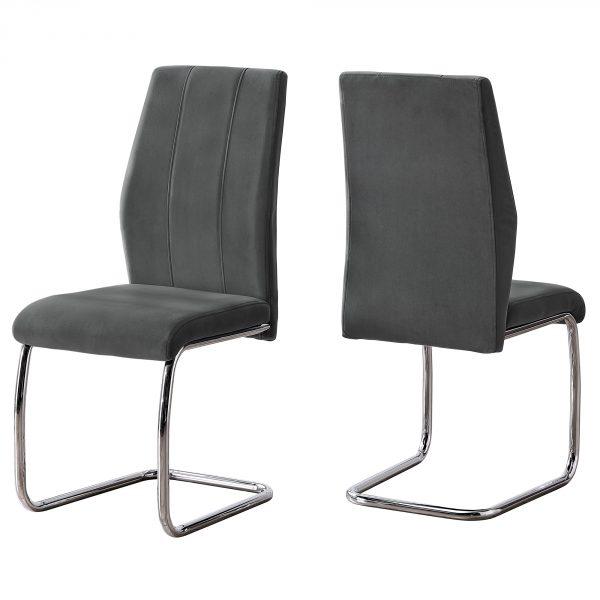 """Two 77.5"""" Dark Grey Velvet, Chrome Metal, and Foam Dining Chairs"""