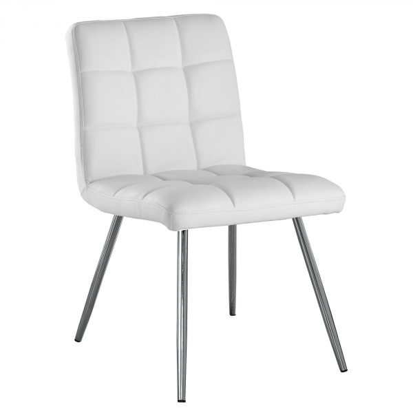 """47"""" x 37"""" x 63"""" White, Foam, Metal, Polyurethane, Leather-Look - Dining Chairs 2pcs"""