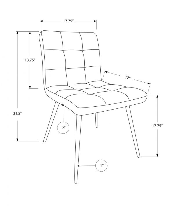 "47"" x 37"" x 63"" Grey, Foam, Metal, Polyurethane, Leather-Look - Dining Chairs 2pcs"