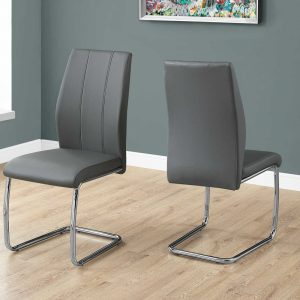 """Two 77.5"""" Grey Leather Look, Chrome Metal, and Foam Dining Chairs"""