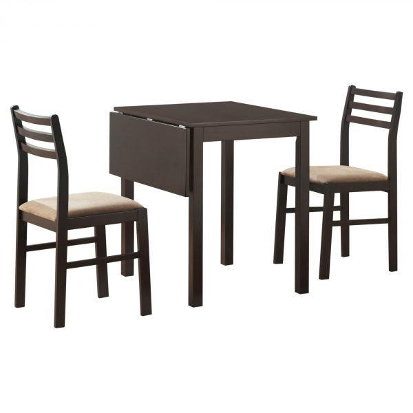 """63"""" x 66.5"""" x 95"""" Cappuccino, Beige, Solid Wood, Foam, Polyester Blend - 3pcs Dining Set"""