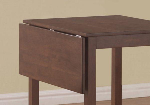 "63"" x 66.5"" x 95"" Walnut, Beige, Solid Wood, Foam, Polyester Blend - 3pcs Dining Set"