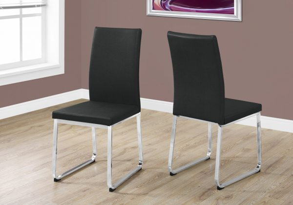 """Two 39.5"""" Leather Look, Foam, and Chrome Metal Dining Chairs"""