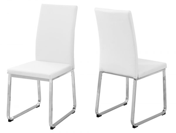 """39.5"""" x 34"""" x 76"""" White, Foam, Metal, Leather-Look - Dining Chairs 2pcs"""