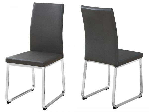 """39.5"""" x 34"""" x 76"""" Grey, Foam, Metal, Leather-Look - Dining Chairs 2pcs"""