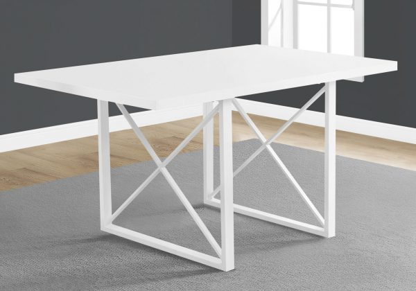 """36"""" x 60"""" x 30"""" White, Hollow-Core, Particle Board, Metal - Dining Table"""