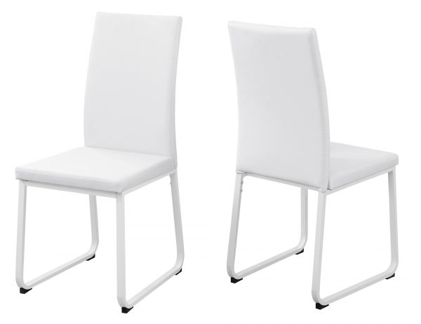 """Two 38"""" White Leather Look, Foam, and Metal Dining Chairs"""