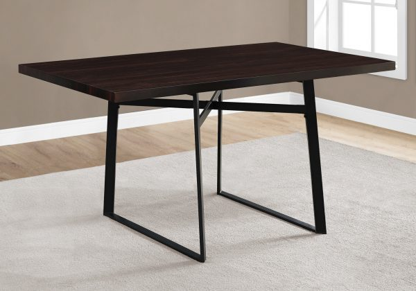 """36"""" x 60"""" x 30"""" Cappuccino, Black, Hollow-Core, Particle Board, Metal - Dining Table"""
