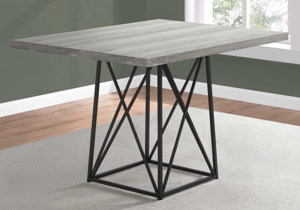 """36"""" x 48"""" 31"""" Grey/Black, Reclaimed Wood, Particle Board and Metal - Dining Table"""