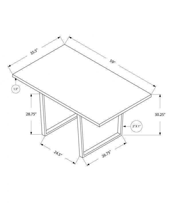 """35.5"""" x 59"""" x 30.25"""" White, Particle Board, Metal - Dining Table"""