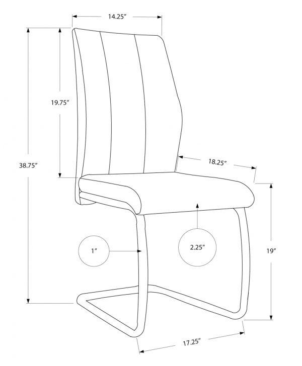 "40.5"" x 34.5"" x 77.5"" Grey, Black, Foam, Metal, Leather-Look - Dining Chairs 2pcs"