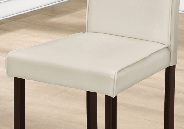 """44.5"""" x 35.5"""" x 72"""" Ivory, Foam, Solid Wood, Leather-Look - Dining Chairs 2pcs"""