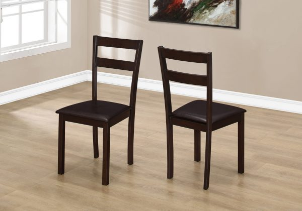 """38"""" x 33.5"""" x 70.5"""" Cappuccino, Solid Wood, Foam, Veneer, Leather-Look - Dining Chair 2pcs"""
