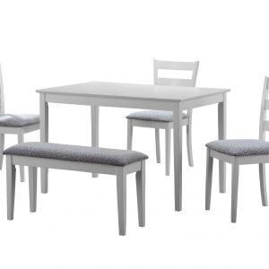 "69.5"" x 81.5"" x 99"" White, Grey, Solid Wood, Foam, Veneer - 5pcs Dining Set"