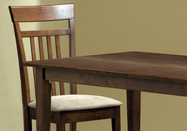 """69.5"""" x 81.25"""" x 107"""" Walnut, Beige, Solid Wood, Foam, Veneer, Microfiber - 5pcs Dining Set"""