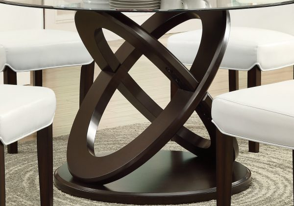 """48"""" x 48"""" x 30.5"""" Espresso, Clear, Glass, Solid Wood, Tempered Glass - Tempered Glass Dining Table"""
