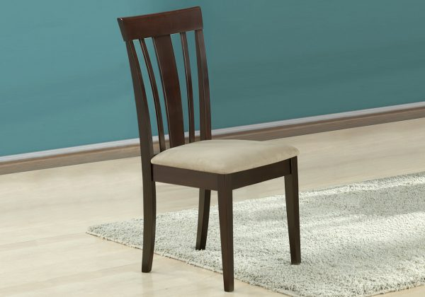 """Two 38.25"""" Cappuccino MDF, Brown Microfiber, and Foam Dining Chairs"""