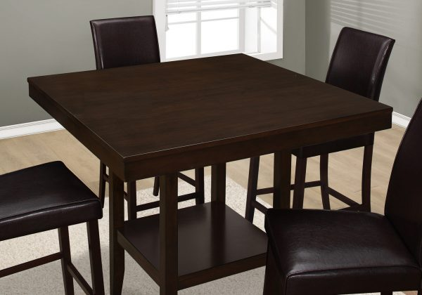 """42"""" x 42"""" x 36"""" Cappuccino, Solid Wood And Veneer - Counter Height Dining Table"""