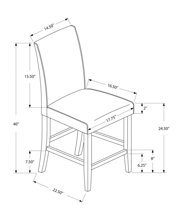 """45"""" x 35.5"""" x 80"""" Brown, Leather-Look, Counter height - 2pcs Dining Chair"""