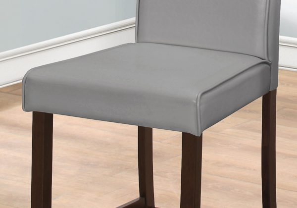 """Two 40"""" Grey Leather Look, Solid Wood, and MDF Counter Height Dining Chairs"""