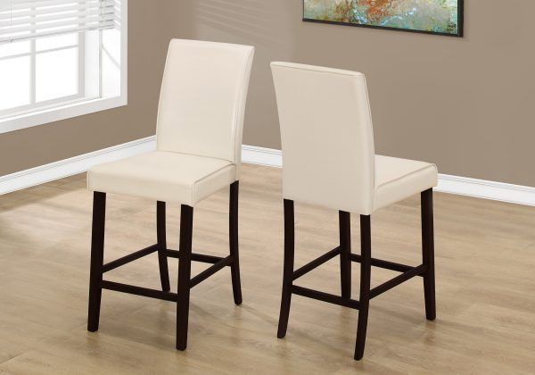 """Two 40"""" Ivory Leather Look, Solid Wood, and MDF Counter Height Dining Chairs"""