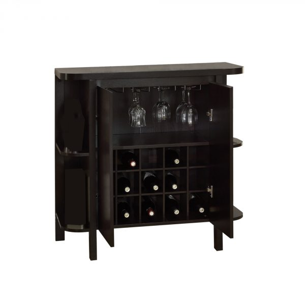 """15.5"""" x 36"""" x 36"""" Cappuccino, Particle Board, Hollow-Core - Glass Storage Home Bar"""