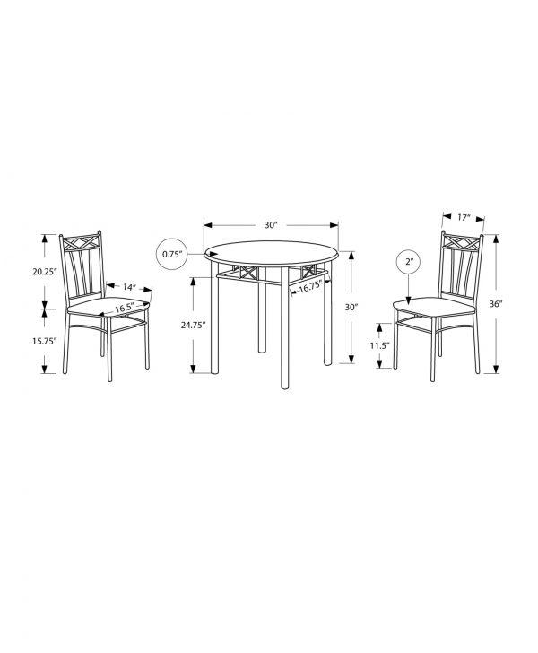"64"" x 64"" x 102"" Cappuccino/Silver, Metal - 3pcs Dining Set"