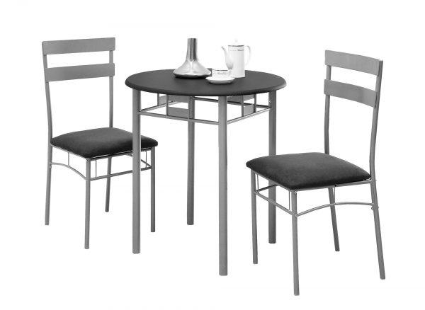 "36"" Black Microfiber, Foam, MDF, and Silver Metal Three Pieces Dining Set"
