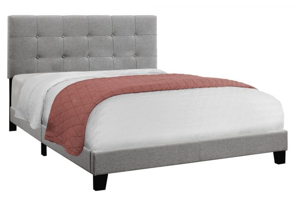 """64.25"""" x 85.25"""" x 45"""" Grey Linen - Queen Size Bed"""