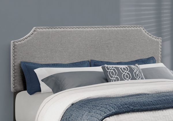 """64.25"""" x 85.25"""" x 45.5"""" Grey, Foam, Solid Wood, Linen - Queen Size Bed with a Chrome Trim"""
