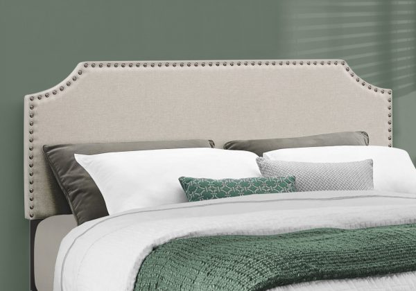 """64.25"""" x 85.25"""" x 45.5"""" Beige, Foam, Solid Wood, Linen - Queen Size Bed with a Brass Trim"""