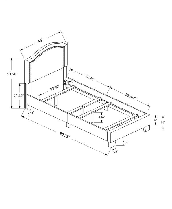 """43"""" x 80.25"""" x 51.5"""" Beige, Foam, Solid Wood, Linen - Twin Size Bed"""
