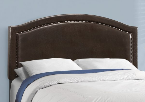 """64.5"""" x 85.75"""" x 51.5"""" Brown, Foam, Solid Wood, Leather-Look - Queen Size Bed"""