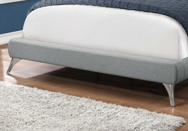 """70.25"""" x 87.25"""" x 47.25"""" Grey, Foam, Solid Wood, Linen - Queen Size Bed"""