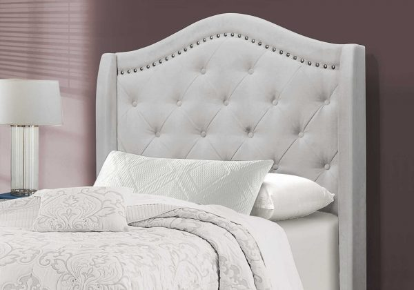 """45.75"""" x 82.75"""" x 56.5"""" Light Grey, Foam, Solid Wood, Velvet - Twin Size Bed With A Chrome Trim"""