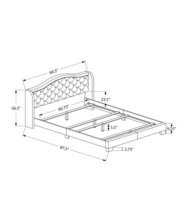 """66.5"""" x 87.5"""" x 56.5"""" Brown, Foam, Solid Wood, Leather-Look - Queen Size Bed With A Brass Trim"""