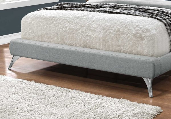 """70.5"""" x 87.25"""" x 45.25"""" Grey, Foam, Solid Wood, Linen - Queen Sized Bed With Chrome Legs"""